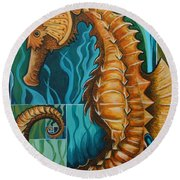 Golden Seahorse Round Beach Towel