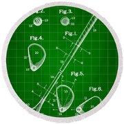 Golf Club Patent 1909 - Green Round Beach Towel