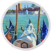 Gondolas And San Giorgio Maggiore Venice Round Beach Towel