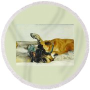 Great Dane And Australian Sheperd Round Beach Towel