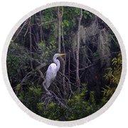 Lowcountry Marsh White Heron Round Beach Towel