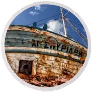 Greek Fishing Boat Round Beach Towel