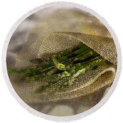 Green Asparagus On Burlab Round Beach Towel