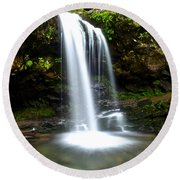 Grotto Falls Round Beach Towel by Frozen in Time Fine Art Photography