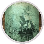 Grungy Historic Seaport Schooner Round Beach Towel