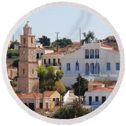 Halki Island Greece Round Beach Towel
