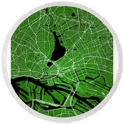 Hamburg Street Map - Hamburg Germany Road Map Art On Colored Bac Round Beach Towel
