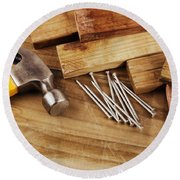 Hammer And Nails  Round Beach Towel
