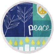 Hanukkah Peace Round Beach Towel