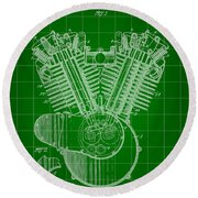 Harley Davidson Engine Patent 1919 - Green Round Beach Towel