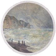 Heavy Sea At Pourville Round Beach Towel
