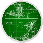 Helicopter Patent 1940 - Green Round Beach Towel