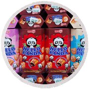 Hello Panda Biscuits Round Beach Towel