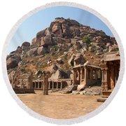 Hindu Ruins At Hampi Round Beach Towel