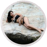 Hispanic Woman Waterfall Round Beach Towel