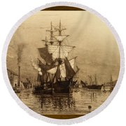 Historic Seaport Schooner Round Beach Towel