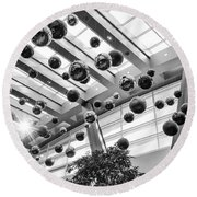 Holiday Glass Ornament Decorations At The Aria Resort And Casino Round Beach Towel
