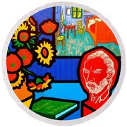 Homage To Vincent Van Gogh Round Beach Towel