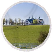 Horse Farm Round Beach Towel
