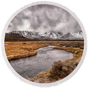 Hot Creek Round Beach Towel by Cat Connor