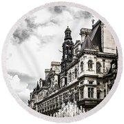 Hotel De Ville In Paris Round Beach Towel