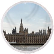 Houses Of Parliament Round Beach Towel
