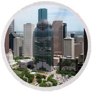 Houston Skyline Round Beach Towel