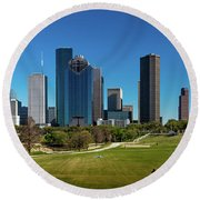 Houston, Texas - High Rise Buildings Round Beach Towel
