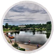 Hoyt Lake Delaware Park 0004 Round Beach Towel