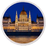 Hungarian Parliament In Budapest Round Beach Towel