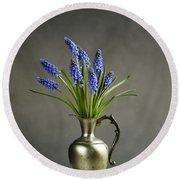 Hyacinth Still Life Round Beach Towel