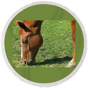 In Green Pasture Round Beach Towel