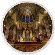 Inside St Patricks Cathedral New York City Round Beach Towel
