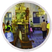 Inside The Historic Jewish Synagogue In Cochin Round Beach Towel