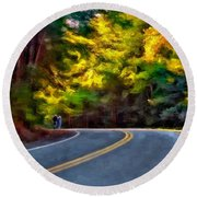 Into The Sunset Watercolor Round Beach Towel