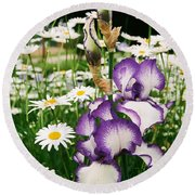 Iris And Daisies Round Beach Towel