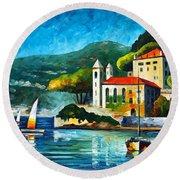 Italy Lake Como Villa Balbianello Round Beach Towel