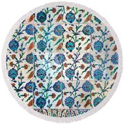 Iznik Ceramics With Floral Design Round Beach Towel