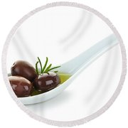 Kalamata Olives Round Beach Towel
