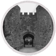 Keys To The Castle - Black And White Round Beach Towel