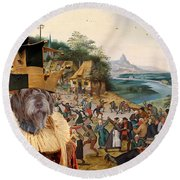 Korthals Pointing Griffon Art Canvas Print Round Beach Towel