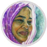 Lady From Bangladesh Round Beach Towel