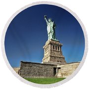 Lady Liberty 2 Round Beach Towel