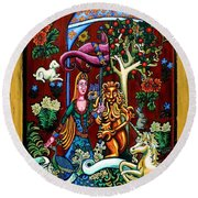 Lady Lion And Unicorn Round Beach Towel