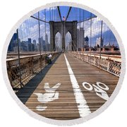 Lanes For Pedestrian And Bicycle Traffic On The Brooklyn Bridge Round Beach Towel