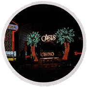 Las Vegas With Watercolor Effect Round Beach Towel