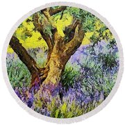 Lavender And Olive Tree Round Beach Towel
