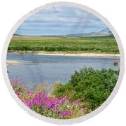 2-lay Of The Land-grizzly Bears In Moraine River In Katmai Np-ak Round Beach Towel