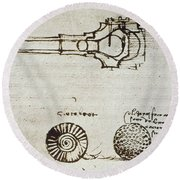 Leonardo Da Vinci Round Beach Towel
