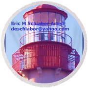 Lighthouse At Cape May Round Beach Towel